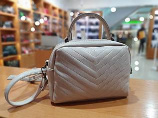 Жіноча маленька сумка з екошкіри , колір пудра , 17-23-11 см