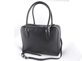 Жіноча шкіряна сумка від бренду DUDUBAGS (Італія) / розмір 32х25х10см / колір чорний