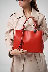 Жіноча шкіряна сумка А4 ТМ Virginia Conti (Італія) / розмір 31 x 23 x 11 см / колір червоний