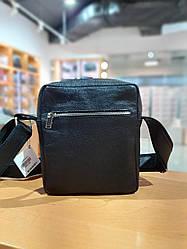 Мужская сумка из натуральной кожи (ручная авторская работа), цвет черный, 19-21-6 см