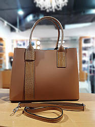 Жіноча шкіряна сумка ТМ Borse in Pelle (Італія) / розмір 34-25.5-15.5 см / колір рудий