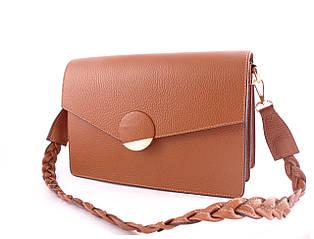 Жіноча шкіряна сумка TM Borse in Pelle (Італія) / розмір 28-19.5-9 см / колір рудий