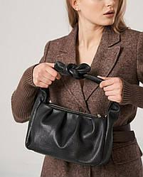 Жіноча шкіряна сумка ТМ Borse in Pelle / розмір 28.5-17-12 см / колір чорний