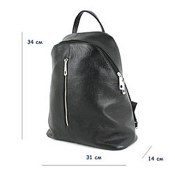 Женский кожаный рюкзак / размер 34-14-31 см / цвет черный