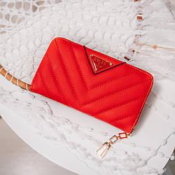 Женский кошелек из дополнительной визиткой, из мягкой эко-кожи, в красном цвете от ESLEE / 19*10*3