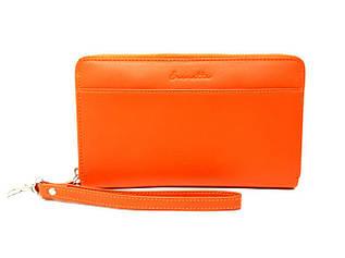 Клатч - кошелек женский, кожаный оранжевого цвета от Eremette / 19.5 * 11.5 * 2.5