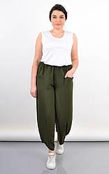 Удобные летние женские штаны Фантазия плюс сайз, олива