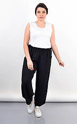 Комфортные летние женские штаны Фантазия черного цвета, большие размеры