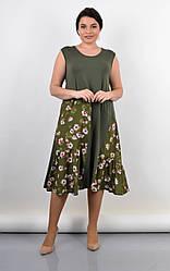 Легкое летнее трикотажное платье Флориана оливкового цвета, для пышных форм