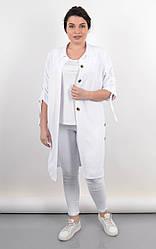 Летний женский кардиган-рубашка Челси белого цвета, большие размеры