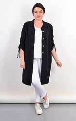 Элегантный летний кардиган-рубашка Челси черного цвета, большие размеры