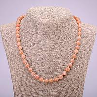 Бусы из натурального камня Селенит гладкий шарик d-8(+-)мм L-48см