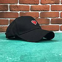 Кепка Бейсболка Женская City-A с Сердцем на завязках Черная, фото 1