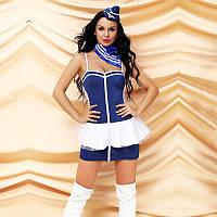 Еротичний костюм стюардеси Велелюбна Жанетта S/M, плаття, шийну хустку, пілотка