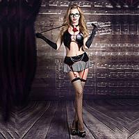 """Еротичний костюм вчительки """"Сувора Моллі"""" S/M, спідничка, топ, панчохи, трусики, краватка, рукавички"""