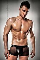 Прозорі чоловічі шортики з гульфіком Passion 003 SHORT black L/XL