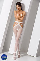 Еротичні колготки-бодистокинг Passion S001 white, з доступом і з відкритими стегнами