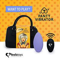 Вібратор в трусики FeelzToys Panty Vibrator Purple з пультом ДУ, 6 режимів роботи, сумочка-чохол