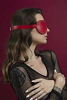 Маска на очі з заклепками Feral Feelings - з зав'язаними очима Mask, натуральна шкіра, червона