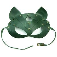 Преміум маска кішечки LOVECRAFT, натуральна шкіра, зелена, подарункова упаковка