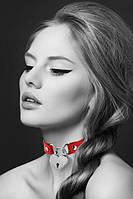Чокер з замочком-сердечком Bijoux Pour Toi - HEART LOCK Red, екошкіра