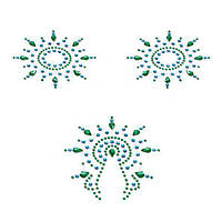 Пэстис з кристалів Petits Joujoux Gloria set of 3 - Green/Blue, прикраса на груди і вульву