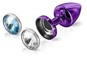 Анальна пробка Diogol Anni Magnet Purple: Кристал/Аквамарин 25мм, зі змінними стразами на магніті