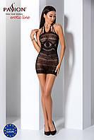Бодистокинг Passion BS063 black, плаття-сітка халтер