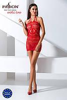 Бодистокинг Passion BS063 red, плаття-сітка халтер