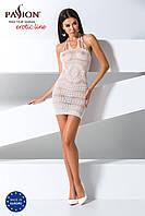 Бодистокинг Passion BS063 white, плаття-сітка халтер