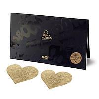 Пэстис - стікіні Bijoux Indiscrets - Flash Heart Gold, наклеки на соски