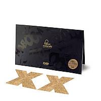 Пэстис - стікіні Bijoux Indiscrets - Flash Cross Gold, наклейки на соски