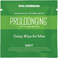 Пролонгирующая серветка Doc Johnson Delay Wipe For Men з екстрактом женьшеню