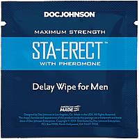 Пролонгирующая серветка Doc Johnson Sta-Erect Delay Wipe For Men з феромонами
