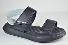 Женские кожаные босоножки черные Best Vak 64 - 01