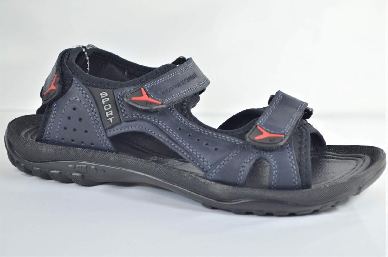Чоловічі спортивні шкіряні сандалі сині Clubshoes Е
