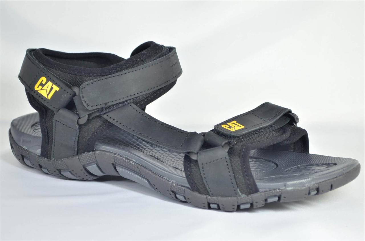 Чоловічі спортивні шкіряні сандалії чорні CAT 10 - 01