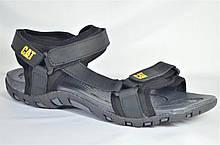 Мужские спортивные кожаные сандалии черные CAT 10 - 01