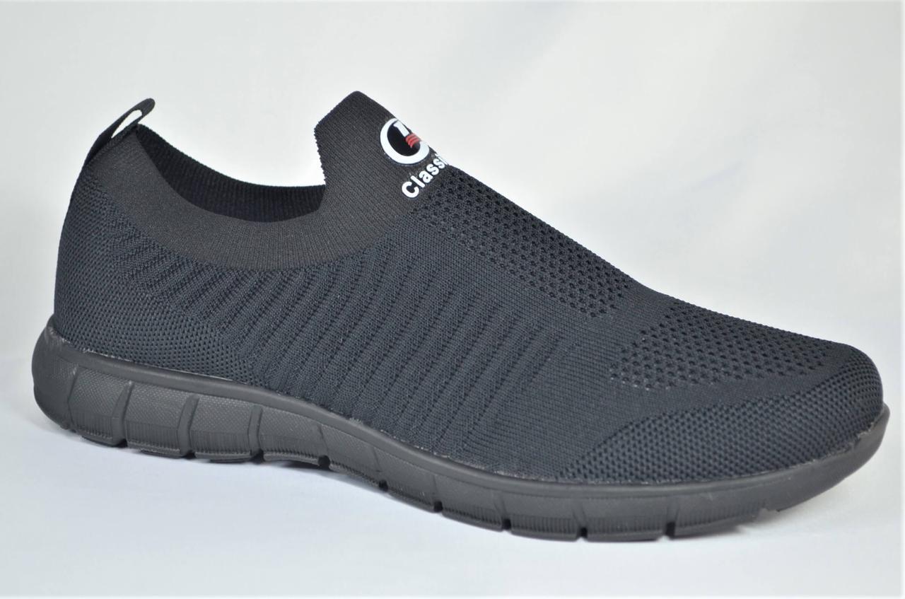 Мужские летние кроссовки сетка черные Classica 1069 - 6