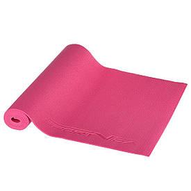Коврик (мат) для йоги и фитнеса 4 мм розовый  SportVida PVC  SV-HK0049 Pink