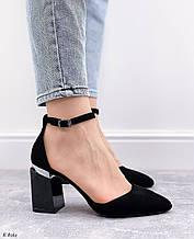 Только 40 р!  Женские туфли / босоножки черные с ремешком на каблуке 8,5 см эко- замш