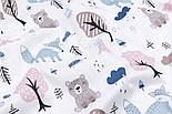 """Лоскут сатина """"Мишки, лисички, деревья и облака с дождиком"""", №3267с, размер 39*80 см, фото 3"""
