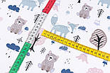 """Лоскут сатина """"Мишки, лисички, деревья и облака с дождиком"""", №3267с, размер 39*80 см, фото 5"""
