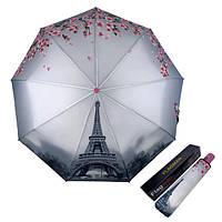 Женский зонт складной автомат Flagman 9 спиц с цветами сакуры и Эйфелевой Башней Серый 545-1