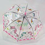Детский зонт для девочки с единорогами прозрачный трость полуавтомат 8 спиц Mario 286-1, фото 3