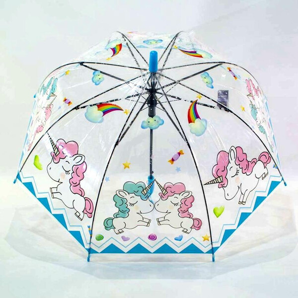 Дитячий парасольку для дівчинки з єдинорогом прозорий-блакитний красивий тростина напівавтомат 8 спиць Mario 286-2