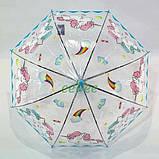 Дитячий парасольку для дівчинки з єдинорогом прозорий-блакитний красивий тростина напівавтомат 8 спиць Mario 286-2, фото 6