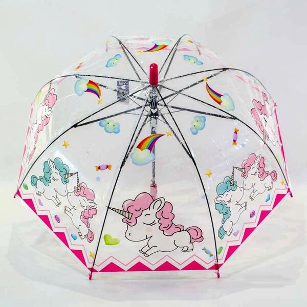 Детский зонт для девочки с единорогами прозрачный-розовый красивый трость полуавтомат 8 спиц Mario 286-3