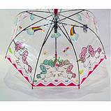 Детский зонт для девочки с единорогами прозрачный-розовый красивый трость полуавтомат 8 спиц Mario 286-3, фото 4