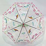Детский зонт для девочки с единорогами прозрачный-розовый красивый трость полуавтомат 8 спиц Mario 286-3, фото 5